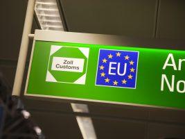 european union customs sign at airport